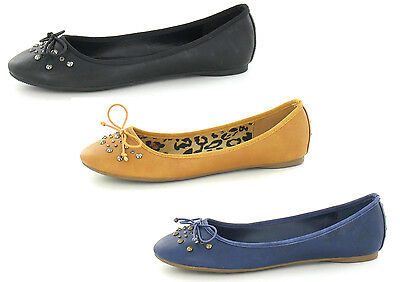 £2.99 • Buy Ladies Spot On Flat Casual Slip On Ballet Pump Shoes F8864 Stud Detail & Bow