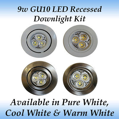 AU20 • Buy 9 Watt GU10 LED Recessed Downlight Kit - Custom Made 120 Degree Spread Of Light