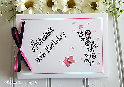 Personalised Pink And Black / Any Age Birthday Guest Book/photo Scrapbook Album  • 13.99£