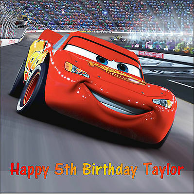 Cars Lightning Mcqueen Square Edible Birthday Cake Topper Decoration • 4.75£