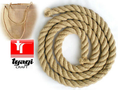 Natural Jute Rope Heavy Duty For Decking ,garden, Boat,tug Of War, Climbing 20mm • 7.99£