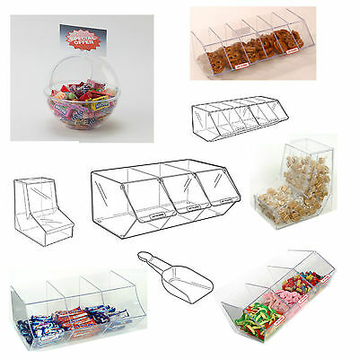 Pick N Mix Sweet Acrylic Dispenser Display Stacking Bin Holder • 68£