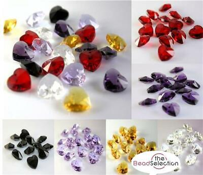 £2.49 • Buy 10 HEART FACETED GLASS BEADS PENDANT CRYSTAL SUN CATCHER 14mm COLOUR CHOICE