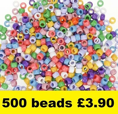 Pony Beads Assorted Colours Barrel Mixed Craft Hair Braiding 9mm X 6mm 500 Pack • 3.90£