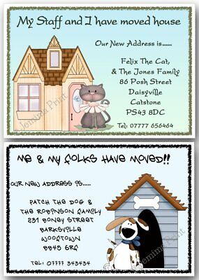 Personalised Change Of Address New Home Moving House Cards Cat Or Dog X10 • 3.75£
