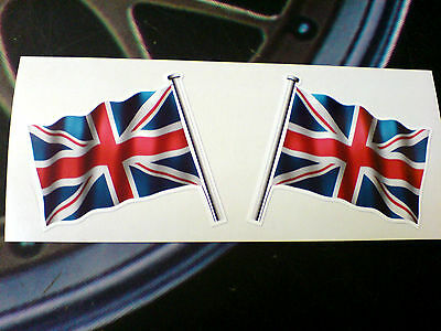 UNION JACK UK GB Flag & Pole Motorcycle Car Bumper Stickers Decals 2 Off 60mm • 1.50£