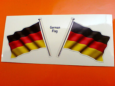GERMAN GERMANY Flag & Pole Motorcycle Car Bumper Stickers Decals 2 Off 60mm • 1.99£