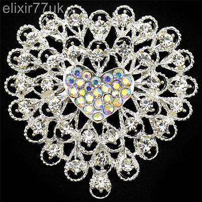 New Large Silver Heart Flower Brooch Diamante Crystal Wedding Party Cake Broach • 3.60£