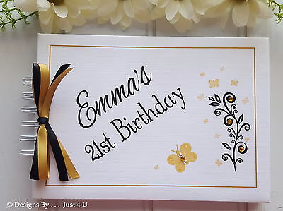 Personalised Gold And Black / Any Age Birthday Guest Book/photo Scrapbook Album  • 13.99£