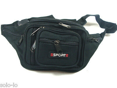 AU13.95 • Buy Waist Pouch Bum Bag Black POLYESTER Travel Sport Bag New