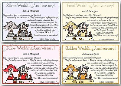 £3.75 • Buy Personalised Silver Pearl Ruby Golden Wedding Anniversary Invitations X10 J151