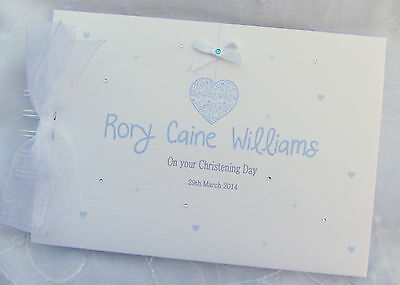 £13.99 • Buy Personalised Baby-heart- Christening-naming - Message Guest Book-scrapbook Album