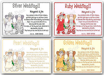 £3.75 • Buy Personalised Silver Pearl Ruby Golden Wedding Anniversary Funny Invitations X10