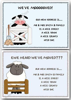 Personalised Change Of Address Moving House Cards New Home Cow Or Sheep Farm X10 • 3.75£