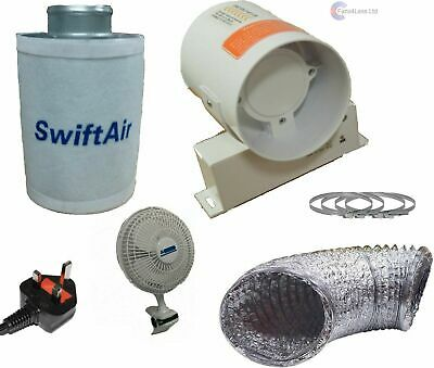 4  5  6  Carbon Filter Hydroponic Extract Fan Tent Grow Room Ventilation Kit • 64.99£