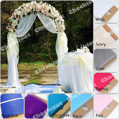 $42.20 • Buy 90  WHITE METAL ARCH + 54 X40 Yards TULLE Wedding Party Prom Floral Decoration