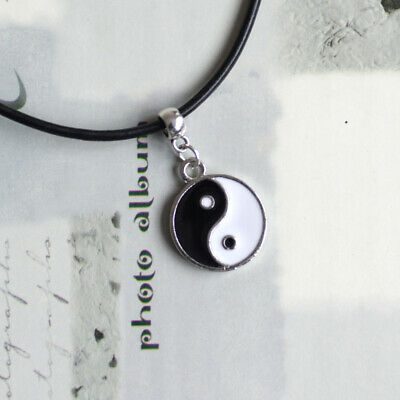 Chinese Yin/Ying Yang/Feng Shui Charm Pendant Necklace With Black Leather Cord • 3.20£