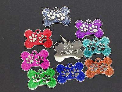Pet ID Tag Tags, Quality 27mm Reflective Glitter Dog Paw Design ..ENGRAVED FREE • 2.95£