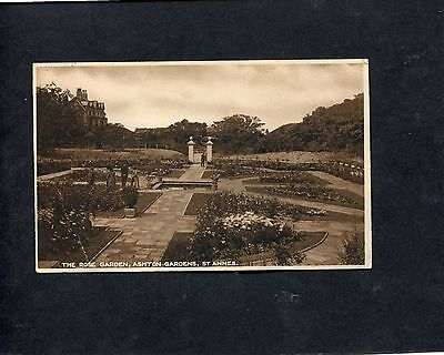 Postcard - The Rose Garden, Ashton Gardens, St. Annes, Lancashire. Stamp C1920's • 1.99£