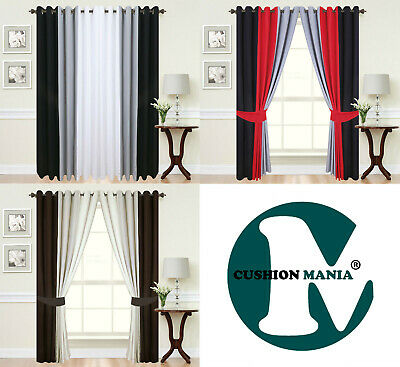 Curtains Eyelet Ring Top Lined Fully Ready Made Tie Backs 3 Tone Black Red Grey • 27.95£