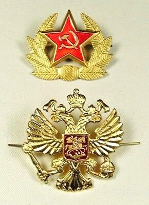 Soviet USSR & Russian Army Hat Cap Badges Red Star & Imperial Eagle *Metal *New • 6.50£