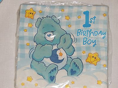 NEW CARE BEARS 1st  BIRTHDAY BOY  16-LUNCH  NAPKINS    PARTY SUPPLIES • 2.24£