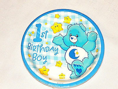 NEW CARE BEARS 1st  BIRTHDAY BOY  8-DESSERT PAPER PLATES   PARTY SUPPLIES • 2.47£