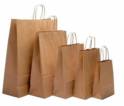 £0.99 • Buy Brown Paper Bags Twist Handle Party And Gift Carrier / Paper Bags With Handles