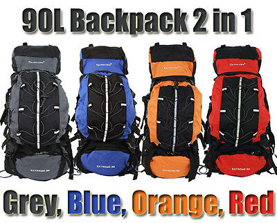 AU49 • Buy Camping Backpack Large 90L + 15L Day Pack Rucksack Bag Luggage Hiking New Travel