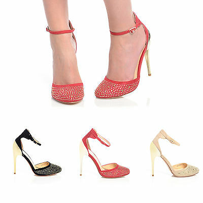 £7.99 • Buy New Gold Stiletto Heel Gem Stone Diamante Ankle Strap Ladies Party Classy Shoes