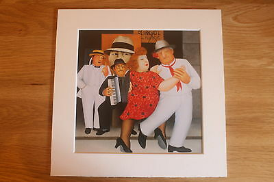 Beryl Cook Tango Buskers  Mounted Card 8 X 8 Funny • 5.50£