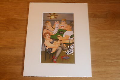 Beryl Cook  Strip Poker  Mounted Card 10 X 8 Funny • 5.50£