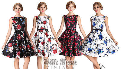 £18.99 • Buy New Vintage 1950s Style Floral Rose Pattern Swing Circle Party Dress Plus Size