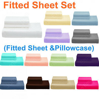 AU27.90 • Buy SINGLE-KING Single-DOUBLE-QUEEN&KING Bed FITTED SHEET Set(Fitted & Pillowcases)