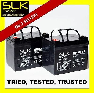 TWO (12volt) 12 24 33ah 36 40ah 50 55 75AH MOBILITY SCOOTER DEEP CYCLE BATTERIES • 56.39£