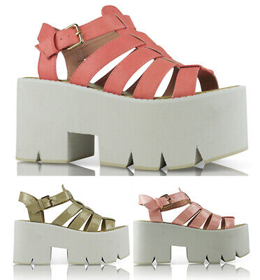 £9.99 • Buy New Womens Ladies Cleated Sole High Heel Chunky Platform Sandals Shoes