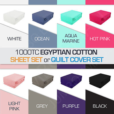 AU50.40 • Buy 1000TC Egyptian Cotton All Size Sheet Set(Fitted,Flat,Pillowcase) Or Quilt Cover
