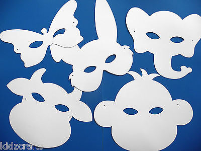White Card Animal Face Masks To Colour In Elastic Children Craft Activity PK 16 • 4.99£