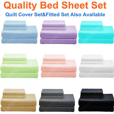AU31 • Buy NEW SINGLE,KS,DOUBLE,QUEEN&KING BED SHEET Set-FITTED SHEET Set-QUILT COVER Set