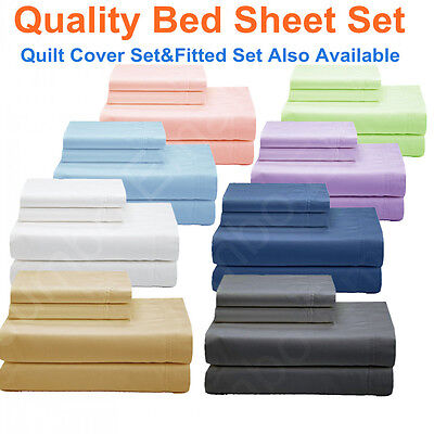 AU31 • Buy NEW SINGLE,KS,DOUBLE,QUEEN&KING BED SHEET Set/FITTED SHEET Set/QUILT COVER Set