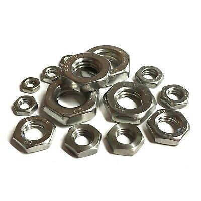 M10 / 10mm Metric FINE PITCH HALF Nuts - A2 Stainless Steel - Lock Thin DIN 439 • 2.15£