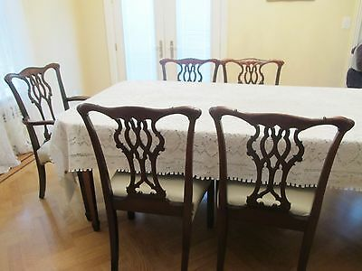 $936 • Buy Set Six 6 Solid Mahogany Wood Antique Dining Chairs