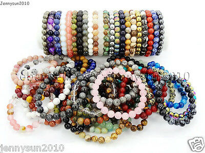 $2.25 • Buy Handmade 8mm Mixed Natural Gemstone Round Beads Stretchy Bracelet Healing Reiki