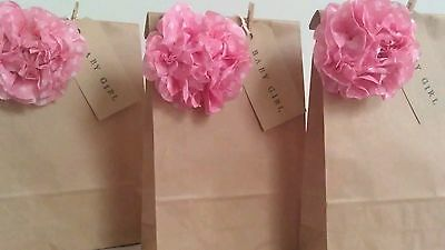 Personalised Vintage Brown Paper Favour Bags/Wedding/Christening/Party/Hen/Gift • 0.99£
