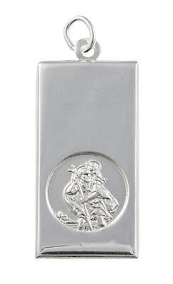 Sterling Silver St Christopher Charm Tag Pendant Ingot Rope Belcher Curb Chain • 31.99£