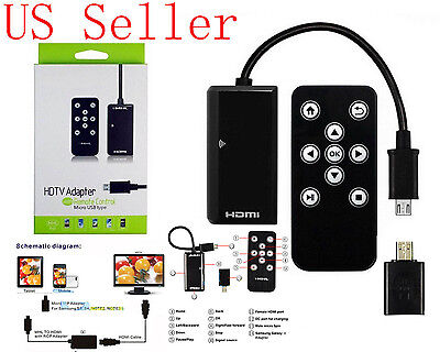 AU16.52 • Buy MHL HDMI HDTV Cable Adapter W/ Remote Control For Samsung Galaxy Mega 6.3 I9200
