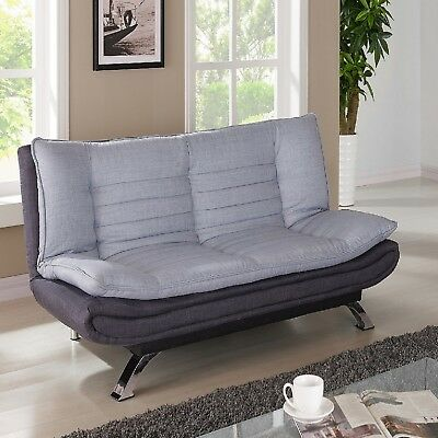 Sofa Bed Padded Fabric Duck Egg Grey With Charcoal Chrome Legs Living Room New • 169.99£
