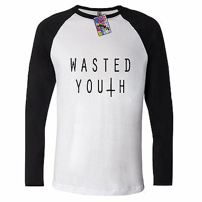 £14.90 • Buy WASTED YOUTH Long Sleeve T SHIRT INVERTED CROSS SWAG DOE HIPSTER TOP RUM INDIE