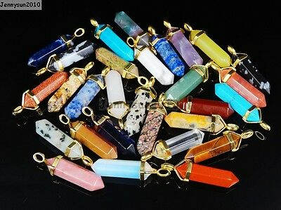 $ CDN1.30 • Buy Natural Gemstones Healing Hexagonal Pointed Reiki Chakra Gold Cap Pendant Beads