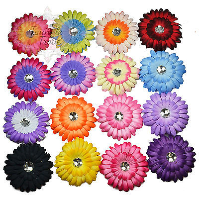 Large Multi-layered Diamante Flower Hair Clips Grips Accessory Bridesmaid Bridal • 1.39£